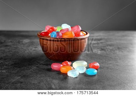 Different cough drops on table