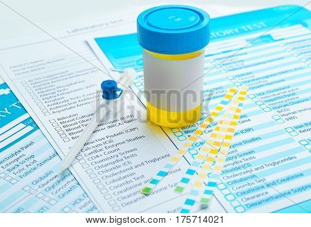 Items for laboratory analysis on test forms