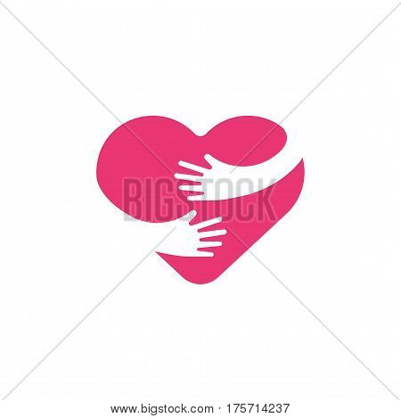 Hugging heart symbol, hug yourself , love yourself. Heart and hands flat illustration isolated on white background.