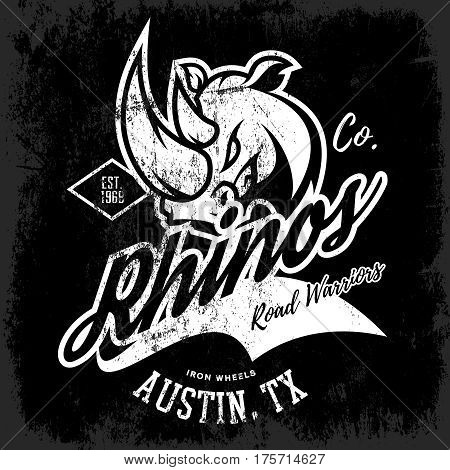 Vintage American rhino bikers club tee print vector design isolated on dark background.  Texas, Austin street wear t-shirt emblem. Premium quality wild animal superior logo concept illustration