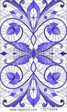 Illustration in stained glass style with abstract swirlsflowers and leaves on a light backgroundvertical orientation gamma blue