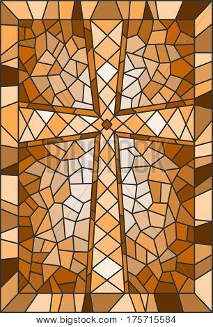 Illustration in stained glass style with a cross in brown tones