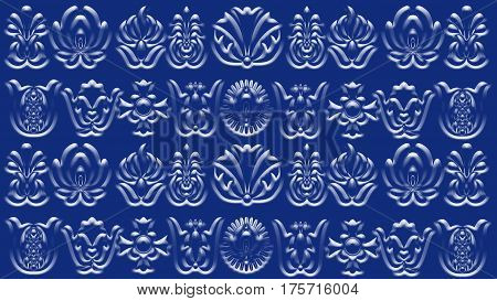 Violet-blue background with folk patterns can be used in the design textile printing industry in a variety of design projects.