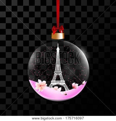 Souvenir from the Eiffel Tower in a secular transparent bowl on a red satin ribbon. Vector illustration decorative elements for design.