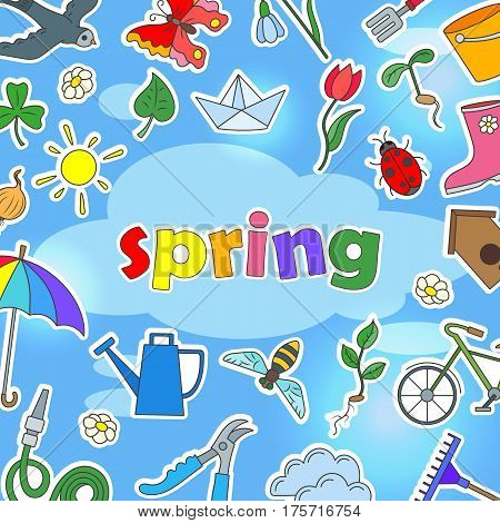 The background image on the theme of spring season icons stickers on blue won and inscription spring