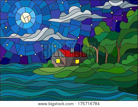 The image in the stained glass style landscape with a lonely house on a background of starry skymoon and sea