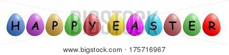 HAPPY EASTER. COLORED EASTER EGGS IN A ROW AS A GRAPHIC
