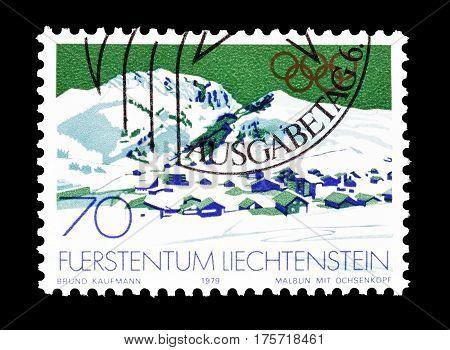 LIECHTENSTEIN - CIRCA 1979 : Cancelled postage stamp printed by Liechtenstein, that shows Winter Olympic games.