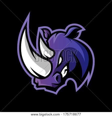 Furious rhino sport vector logo concept isolated on dark background. Professional team badge design. Premium quality wild animal t-shirt tee print illustration.