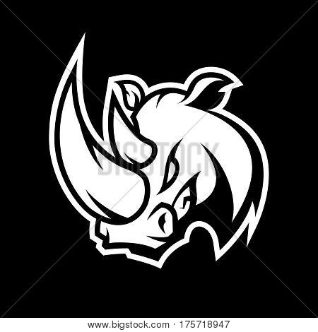 Furious rhino sport mono vector logo concept isolated on dark background. Professional team badge design. Premium quality wild animal t-shirt tee print illustration