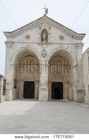 Monte Sant'Angelo, Italy - 28 June 2016: St Michael basilica at Monte Sant'Angelo on Puglia Italy