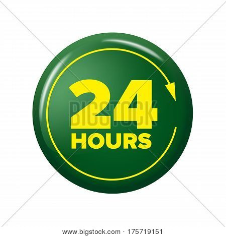 Bright Green Button With Words '24 Hours' And Arrow