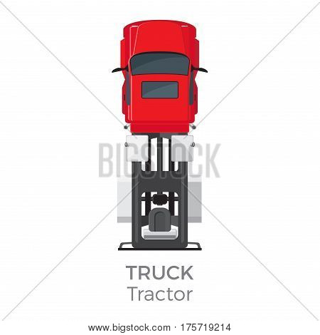 Truck tractor on red car service means of transportation isolated on white. Vector city transport icon, trailer for carriage cargos modern delivery transport item, top view on car in cartoon style