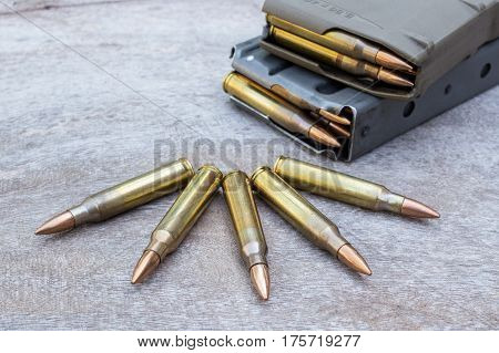 assault rifle bullet and bullet magazine 5.56mm