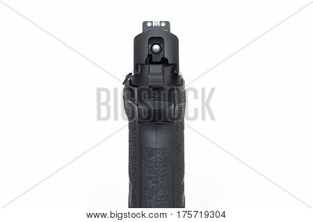 isolated handgun or pistol 9 mm and sight