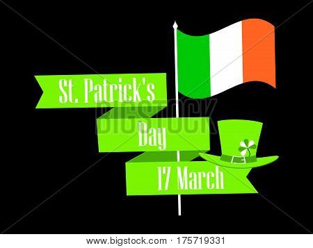 St.patrick 's Day. Ribbon With Text And Ireland Flag. Festive Banner. Vector Illustration