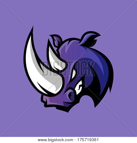Furious rhino sport vector logo concept isolated on purple background. Professional team badge design. Premium quality wild animal t-shirt tee print illustration.