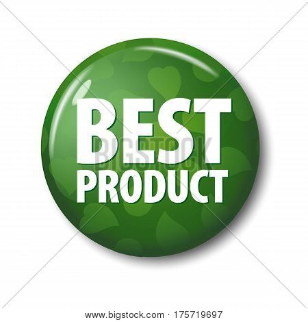 Bright Green Round Button With Word 'best Product' And Leaves