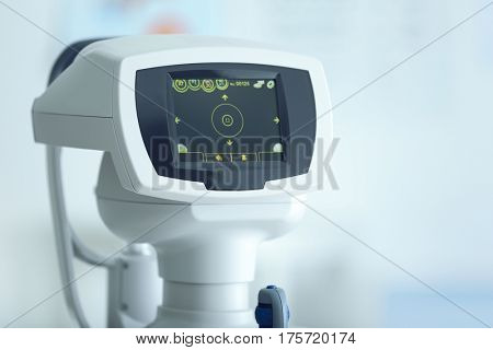 Fundus camera in medical office, closeup
