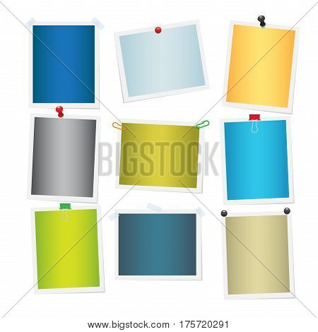 Empty colourful attached photos collection on white. Vector poster of yellow, green, blue, grey and beige pictures with white frames. Decorative elements for interior decoration with empty space