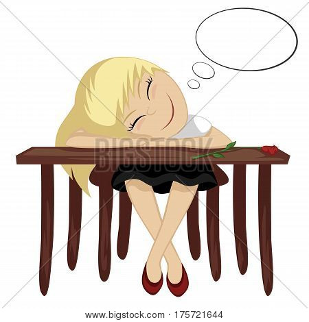 a girl is daydreaming while sitting at a table (with text bubbles)