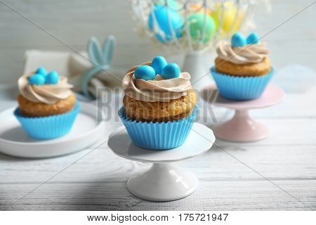 Delicious Easter cupcake on a cake stand