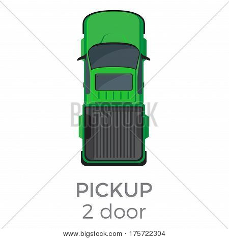 Two door pickup top view icon. Compact truck with raised passableness flat vector isolated on white background. Commercial vehicle illustration for distribution logistics concept and infographics