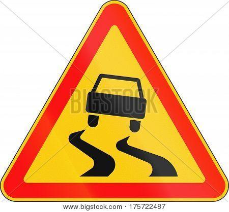 Warning Road Sign Used In Belarus - Slippery Road