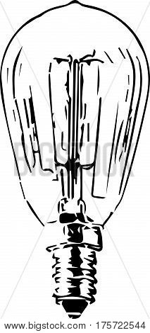 Vector silhouette outline of light bulb made of glass with filaments and screw fitting. .