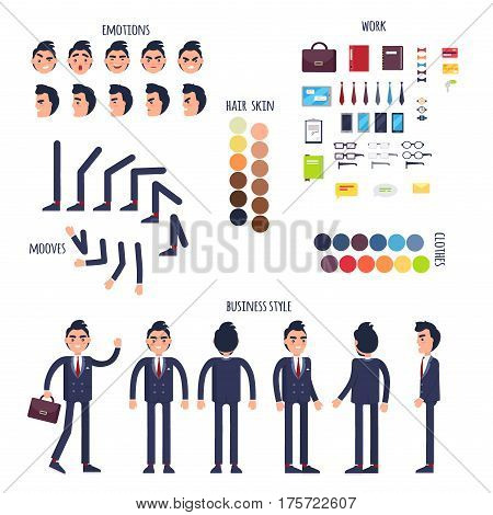 Businessman character generator with emotions, moves, work attributes, hair, skin and clothes colors. Man in business suit standing in different poses and angles isolated flat vector illustrations
