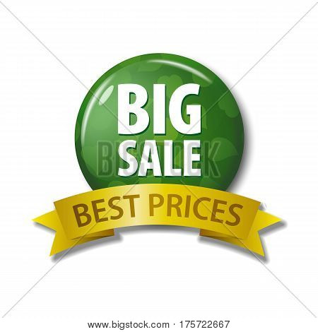Green Button And Ribbon With Words 'big Sale Best Prices'