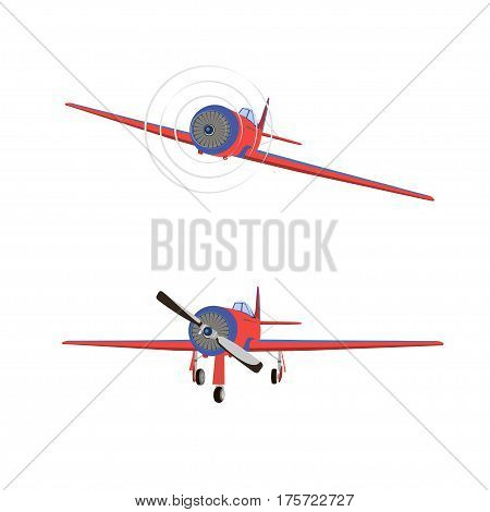 Vector flat illustration of a propeller aircraft in static and in flight on a white background