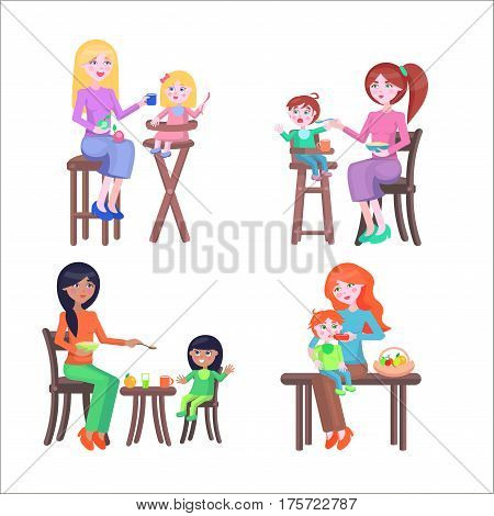 Set of four mothers, who feeds their children. Two mothers with boys and two with girls, two babies sit on highchairs, one at the table and one on the mother s lap. Vector illustration for Mother Day.