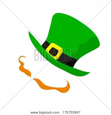 Saint Patrick's day. Vector illustration on white background. Main signs of the celebration - red-haired handlebars and green hat