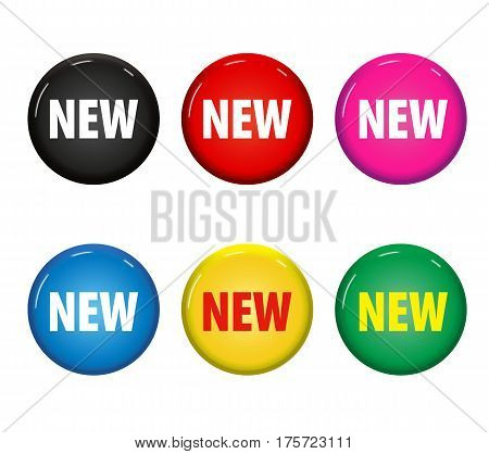 Set Of Colored Round Buttons With Word 'new'