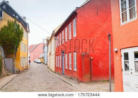 Colorful Living Houses Along Street, Germany