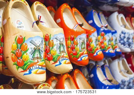 Dutch Traditional Shoes With Paintings