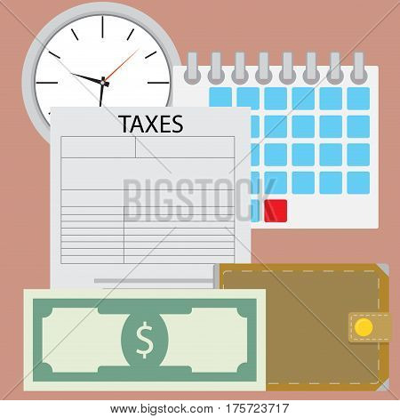 Time for pay tax. Currency payment accounting and irs financial taxation vector illustration
