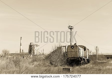 Old Rusty Steam Locomotive. Crisis In Ukraine, Fall Of Economy, Stop Production Capacity. Global Cat