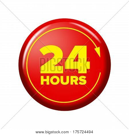 Bright Red Button With Words '24 Hours' And Arrow