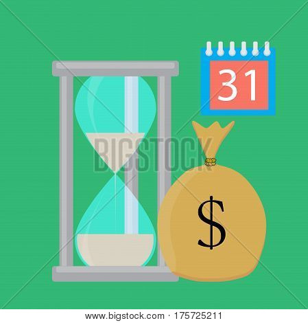 Time for salary vector concept flat. Budget pay cash currency finance illustration