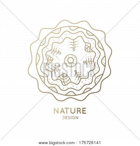 Vector logo of nature on white background. Linear icon of landscape in circle with trees, and river or snow. Business emblem, badge for a travel, farming and ecology concepts, health and yoga Center.