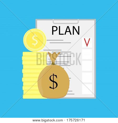 Plan checklist growth money. Finance plan and earnings stock financial. Vector illustration