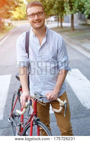 Fashionable Man Holding His Bike