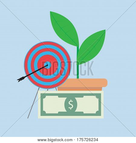 Successful financial growth. Profit and income vector investment growth financial vision illustration