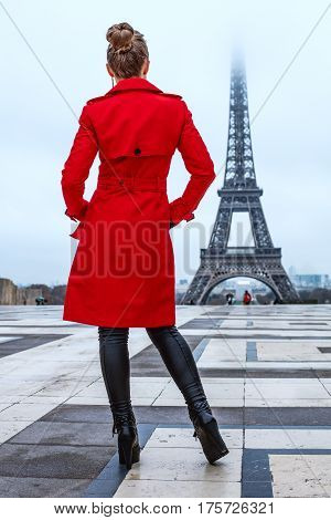 Seen From Behind Woman Looking At Eiffel Tower, Paris