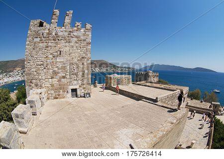 BODRUM, TURKEY - AUGUST 15, 2009: Unidentified people visit Halicarnassus castle in Bodrum, Turkey.