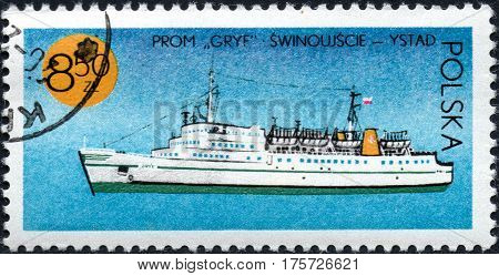 UKRAINE - CIRCA 2017: A stamp printed in Poland shows chip ferry Griffin series Ships under the Polish Flag circa 1971