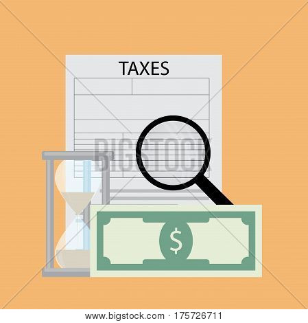 Tax pay and analyze vector. Financial business accounting pay mone illustration