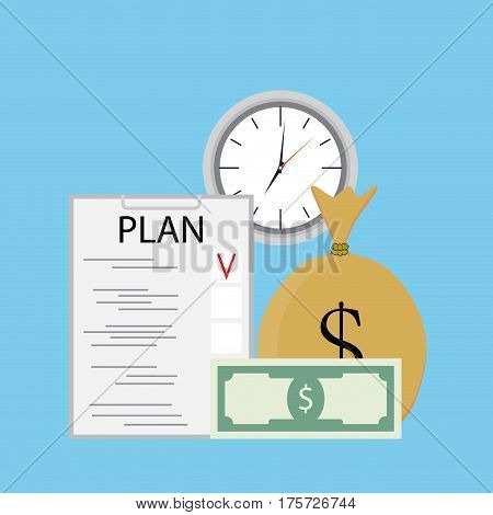 Plan finance vector. Plan of business profit banknote money investment checklist financial efficient illustration